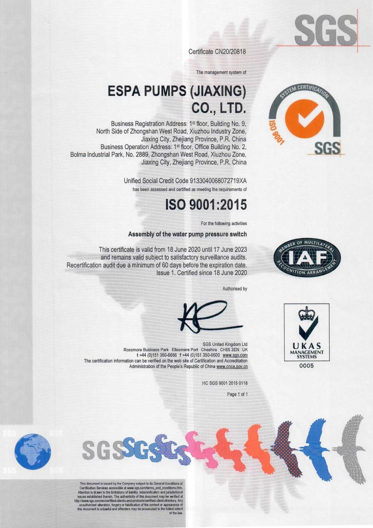 Certificate ISO 9001 ESPA Jiaxing